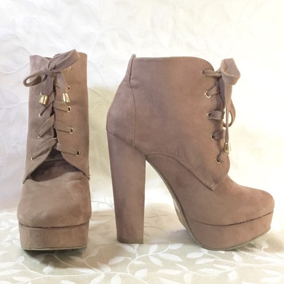 c6a602f6817 Forever 21 Shoes - Heeled Ankle Boots Camel Tan Lace Up Faux Suede